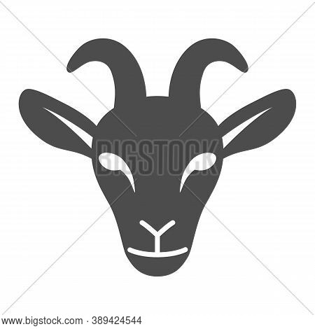 Goat Head Solid Icon, Livestock Concept, Nanny-goat Head Sign On White Background, Goat Face Icon In