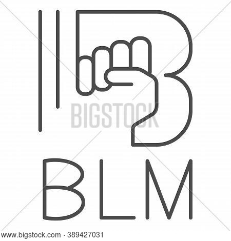 Black Lives Matter With Raised Fist Thin Line Icon, Black Lives Matter Concept, No Violence Against