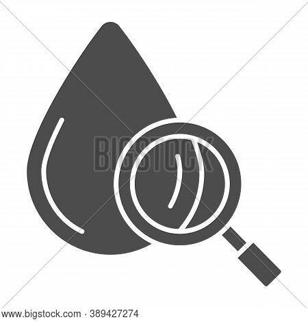 Blood Drop Under Magnifier Solid Icon, Medical Tests Concept, Blood Test Sign On White Background, D