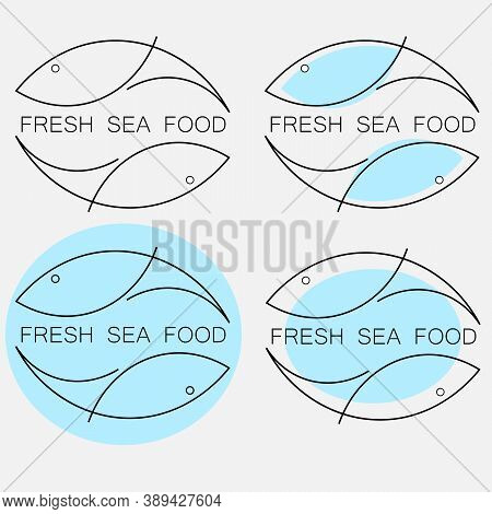 Set Of Creative Minimal Fresh Seafood Logo From Fish Outlines With The Inscription