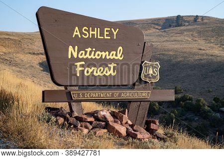 Utah, Usa - September 21, 2020: Sign For The Ashley National Forest, In Northern Utah