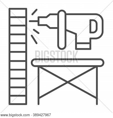 Perforator Drilling Wall Thin Line Icon, House Repair Concept, Electric Drill And Wall Sign On White
