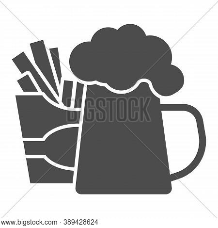 Fried Potatoes And Mug Of Beer Solid Icon, Craft Beer Concept, Fast Food Sign On White Background, B