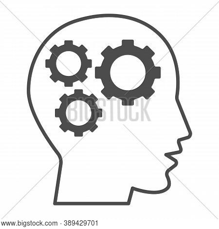 Gears In Head Thin Line Icon, Idea And Innovation Concept, Human Mind And Three Cogs Sign On White B