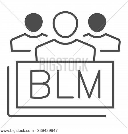 Group Of People With Blm Text Thin Line Icon, Black Lives Matter Concept, Group Of Multiethnic Peopl