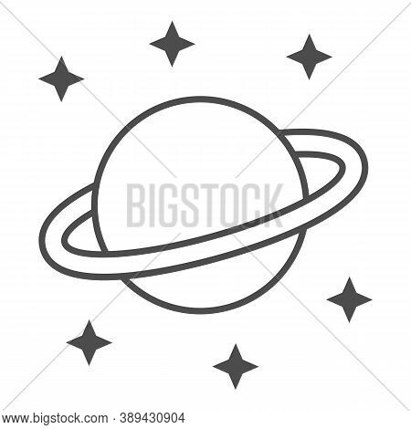 Planet Saturn Thin Line Icon, Space Concept, Planet And Stars Sign On White Background, Saturn With
