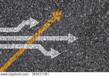 Different Thinking And Business And Technology Disruption Concept , Yellow Arrow Cross Direction Wit