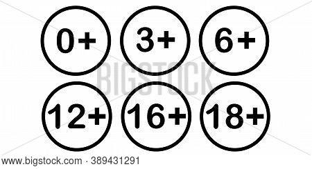 Age Limit. Tolerance Limit. Eighteen Plus. Set Of Icons. Vector Illustration.