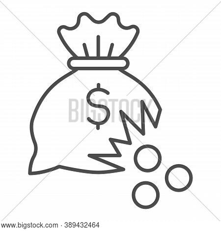 Bag Of Money With Hole And Coins Thin Line Icon, Financial Problem Concept, Leaking Coins From Torn