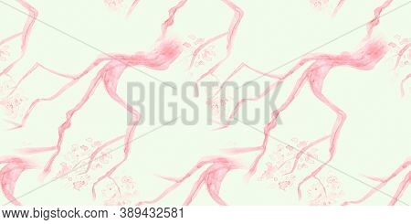 Watercolour Cherry Blossom. Seamless Apple Background. Japanese Flower Repeat. Pink Oriental Soft Pa