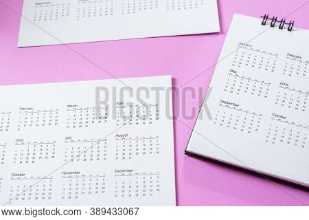 Top View Of Calendar For Planner And Organizer To Plan And Reminder Daily Appointment, Meeting Agend