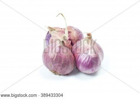 The Whole Shallot Is A Thai Herb And Cooking Ingredients Isolated On White Background.
