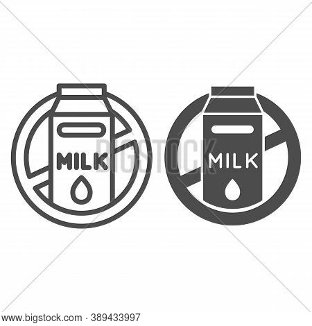 Milk Allergy Line And Solid Icon, Allergy Concept, Lactose Intolerance Allergy Warning Sign On White