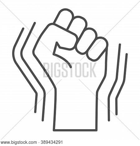 Raised Fist Gesture Thin Line Icon, Black Lives Matter Concept, Human Hand Up Blm Sign On White Back