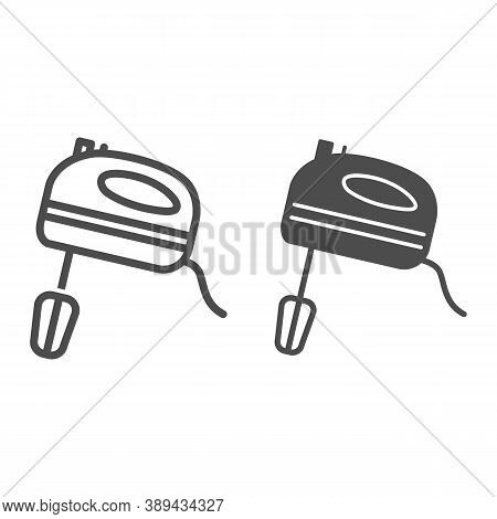 Mixer Line And Solid Icon, Ccc Concept, Kitchen Mixer Sign On White Background, Hand Mixer Icon In O