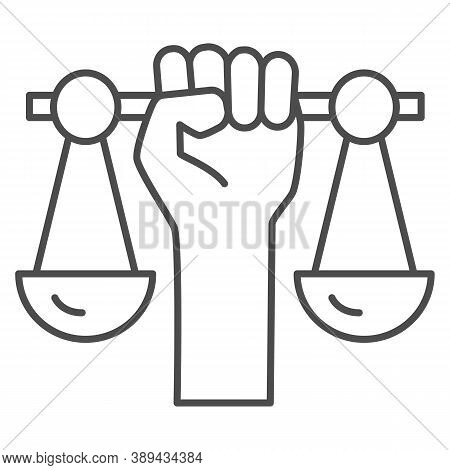 Hand Holding Scales Thin Line Icon, Black Lives Matter Concept, Civil Rights Sign On White Backgroun
