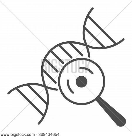 Dna Chain And Magnifying Glass Thin Line Icon, Science Concept, Dna Research Sign On White Backgroun