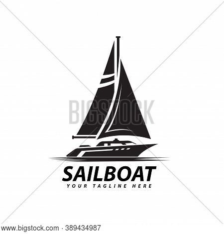 Symbol Of Sail Ship Silhouette Sea Transportation Design Vector, Sailboat Logo Illustration