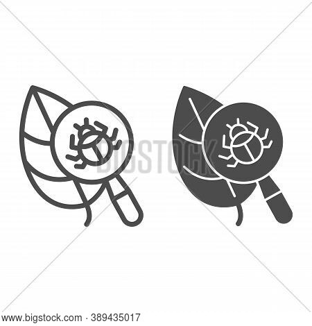 Beetle Under Magnifying Glass On Leaf Line And Solid Icon, Allergy Concept, Insect Under Magnifier S