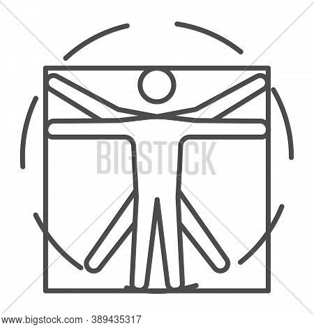 Leonardo Da Vinci Vitruvian Man Thin Line Icon, Science Concept, Human Body In Circle And Square Sig