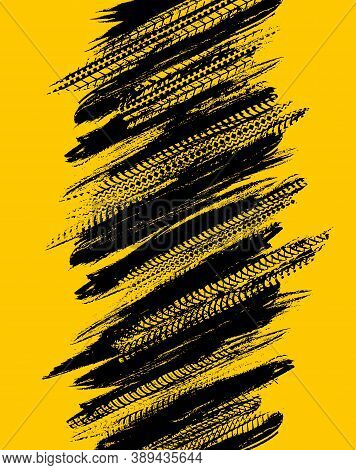 Offroad Grunge Tyre Prints, Vector Abstract Black Pattern On Yellow Background For Automobile Servic