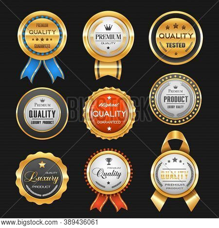 Business Labels With Vector Gold Badges Of Premium Quality Certificates. Best Product Award Ribbon R