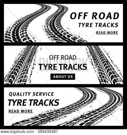 Off Road Tire Tracks, Black Car Tyres Prints, Grunge Vector Marks. Bike Race, Vehicle, Transportatio