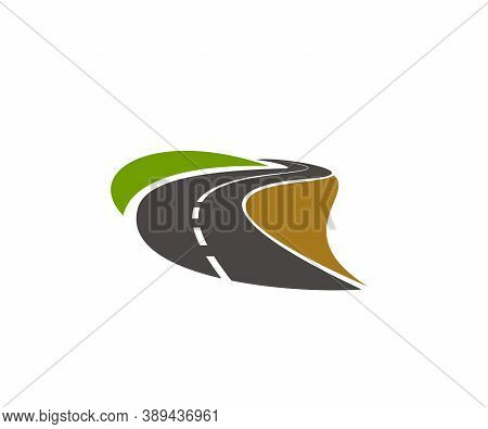 Road, Pathway, Highway Vector Icon. Winding Paved Road Running Through Green Fields With Grassy Road