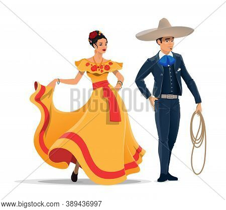 Mexican Man And Woman Vector Cartoon Characters With National Clothes And Sombrero. Mexico Cowboy Ch