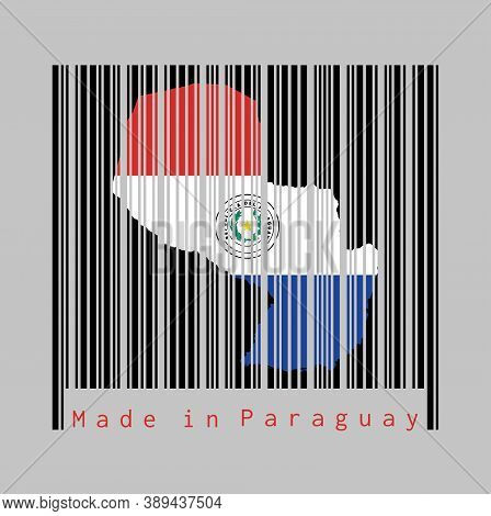 Barcode Set The Shape To Paraguay Map Outline And The Color Of Paraguay Flag On Black Barcode With G