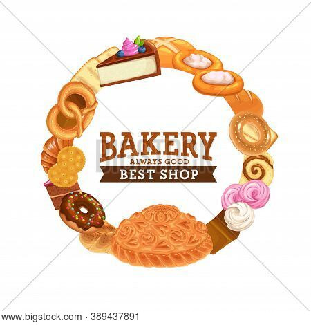 Cakes Desserts, Bakery Sweet Chocolate Cupcakes And Pastry, Vector Frame Banner. Patisserie Sweet De