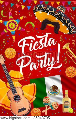 Mexican Sombrero, Guitar And Maracas Of Vector Fiesta Party. Mexican Flag, Mariachi Hat And Trumpet,