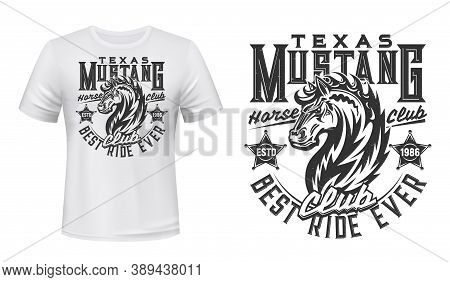 Wild Mustang Stallion T-shirt Vector Print. Strong Horse Stallion Head With Waving Mane, Sheriff Bad