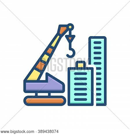 Color Illustration Icon For Crane-building Construction Tower Architecture Constructing Innovation C