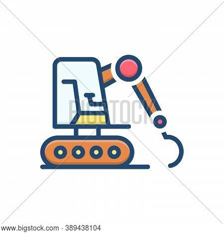 Color Illustration Icon For Excavator Equipment Mini Machinery Excavating Bulldozer Digger Loader Ba