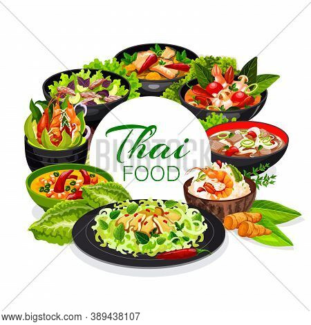 Thai Cuisine, Vector Rice With Coconut Milk And Shrimp, Coconut Milk Fish Soup, Calamari Salad, Tom