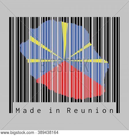 Barcode Set The Shape To Reunion Map Outline And The Color Of Reunion Flag On Black Barcode With Gre