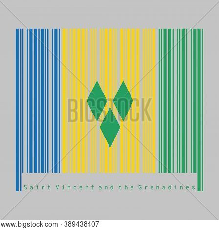 Barcode Set The Color Of Saint Vincent Flag, Blue Gold And Green With Three Green Diamonds Arranged
