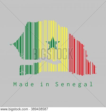 Barcode Set The Shape To Senegal Map Outline And The Color Of Senegal Flag On Grey Background, Text: