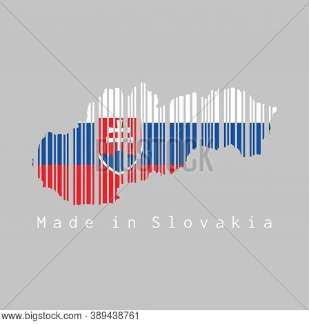 Barcode Set The Shape To Slovakia Map Outline And The Color Of Slovakia Flag On Grey Background, Tex
