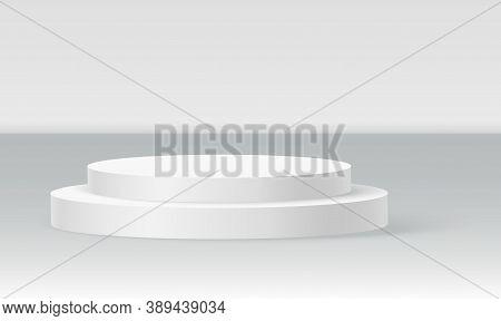Single Disc Podium Scene, Winner Pedestal. White Cylinder Template For Showroom Podium Scene. Vector