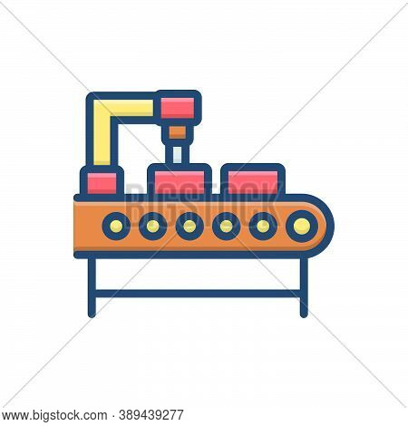 Color Illustration Icon For Production Manufacturing Manufacture Making Factory Automation Technolog