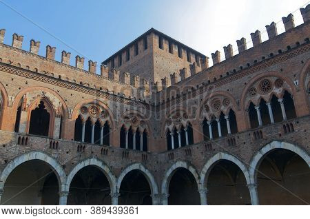 Pavia, Lombardy, Italy - 26th September 2019 : View Of The Insides Walls Of The Visconteo Castle In