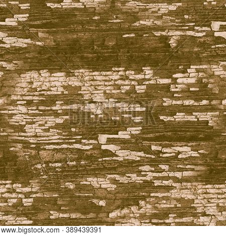Brown Crackle Paint. Worn Crack Pattern. Ancient Break Fence. Distress Tree Illustration. Crackle Pa