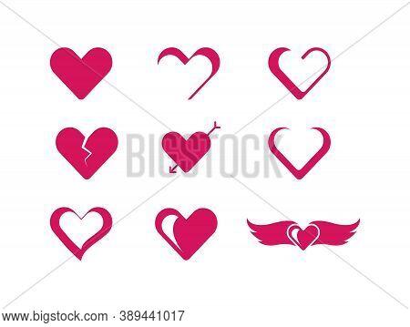 Love Shape Icon Set Vector Template Design. Creative Love Hart Shape Vector Template. Valentines Day