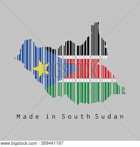 Barcode Set The Shape To South Sudan Map Outline And The Color Of South Sudan Flag On Grey Backgroun