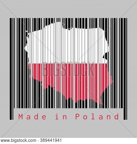 Barcode Set The Shape To Poland Map Outline And The Color Of Poland Flag On Black Barcode With Grey