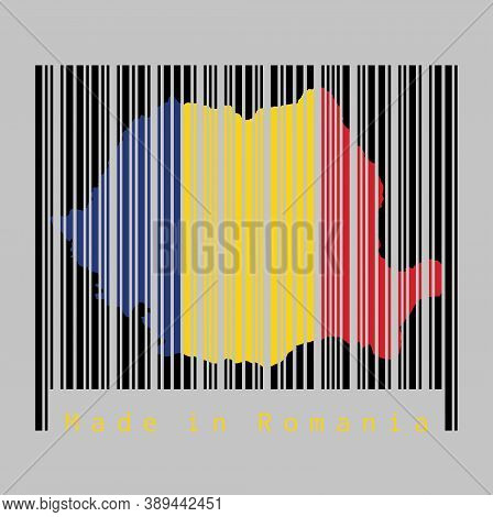 Barcode Set The Shape To Romania Map Outline And The Color Of Romania Flag On Black Barcode With Gre