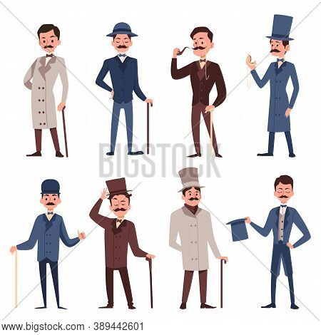 Victorian Gentlemen Set - Cartoon Men In Vintage English Clothing