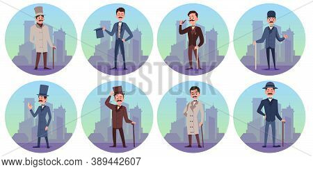 Set Characters Of Victorian English Aristocrats A Vector Isolated Illustrations.